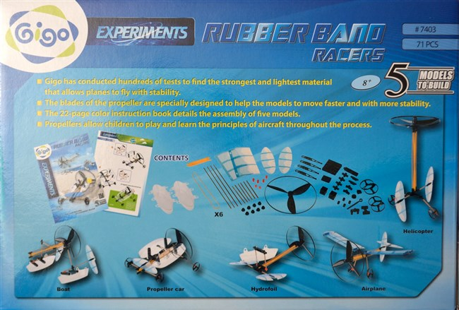 Gigo 7403 Rubber band racers - boats, car, plane, helicopter